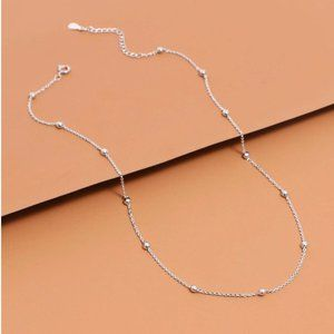 Dainty Silver Chain Bead Necklace